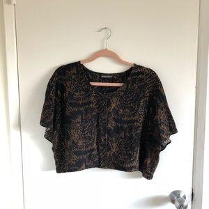 Antik Batik Black and Brown Cropped Blouse